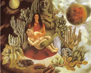 The Love Embrace of the Universe, the Earth (Mexico), Myself, Diego and Señor Xólotl - Frida Kahlo, 1949